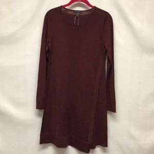 Eileen Fisher long sleeve maroon dress size xxs